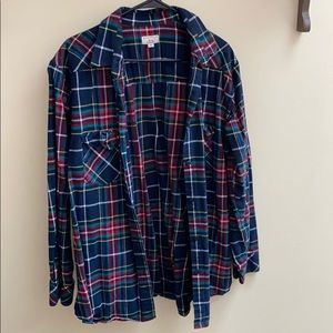 Tunic flannel button up shirt